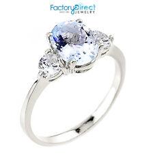 Ladies 10k White Gold Aquamarine March Birthstone 2.3mm Dainty Ring