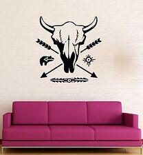 Vinyl Wall Stickers Ethnic Decor Pattern Bull Skull Arrow Decal Mural (176ig)