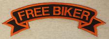 Patch Aufnäher FREE BIKER #1 orange Rückenschleife oben 28-35 oder 40cm