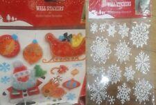 CHRISTMAS XMAS WINDOW LARGE STICKERS XMAS WALL ART 3D HOME DECOR SANTA SNOWFLAKE