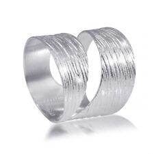 MATERIA 925 Sterling Silber Wickel Ring - Silber Band Ring breit mattiert + Box