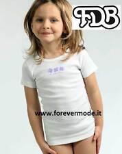 Suéter niña FDB manga corta cuello redondo de algodón con perfil e estampado art