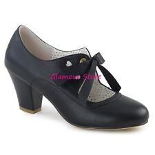 Sexy DECOLTE' tacco 6,5 dal 35 a 41 NERO OPACO fiocchetto scarpe PIN UP glamour