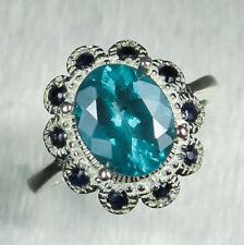 1.35ct Natural Paraiba blue Apatite 925 silver / 14k 18k Gold Platinum ring