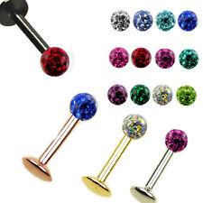 1,2mm Labret 3mm glitzer Epoxy Kristall Lippen Piercing beschichtet ferido Ohr