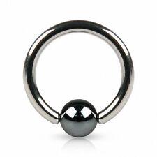 Piercing anneau boule hématite