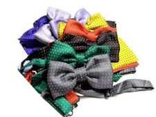 Completo uomo abbinato o solo papillon e pochette a pois vari colori seta italy