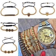 24kt Gold Plated Micro Pave Zircon Cube Beads Balls Braided Macrame Bracelets