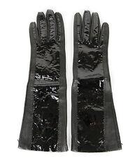 NEW Bottega Venega Womens Long Leather/Patent Leather Gloves Black 322693 1000