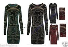 Womens Ladeis Beaded Glitter Embellished Long Sleeve Valvet Bodycon Party Dress