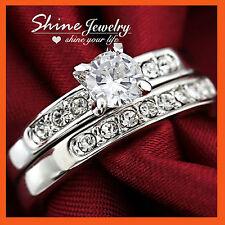 18K WHITE GOLD GF R41 WEDDING DIAMONDS BRIDAL ENGAGEMENT LADIES SOLID RINGS SETS