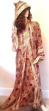 Nouveau Rouge Or Marocain à capuche Fête Abaya Jilbab Long Soyeux Doux Robe à XL
