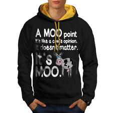 Cow Moo Opinion Men Contrast Hoodie NEW | Wellcoda