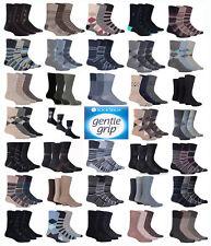 Mens Gentle Grip Socks Non Elastic Soft Top Diabetic Fashion 3,6,9&12 pairs