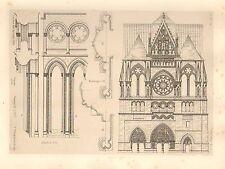 1858 grandi ARCHITETTURA STAMPA ~ furono Cattedrale Medievale arte Gotica Medievale