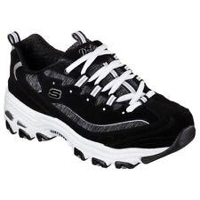 Skechers Women's D'Lites Me Time Low Top Sneaker Shoes Black White Footwear