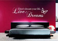 Vivi i tuoi sogni Wall Art Sticker Preventivo Trasferimento Decalcomania Murale Stencil Arte wsdwq 2