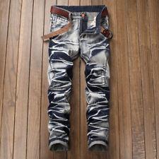 Jeans for men Straight type Skinny Street Trousers Slim Fit Distressed Denim