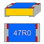 SMD-Widerstand 47 Ohm 1% 0,1 W Bauform 0603 gegurtet