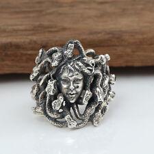 Men's 925 Sterling Solid Thai Silver Ring Snakes Medusa Myth Size 8 9 10 11