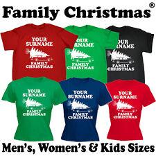 PERSONALISED SURNAME FAMILY CHRISTMAS T-SHIRT x-mas griswold santa custom gift