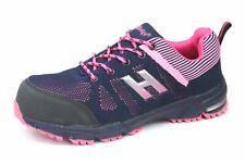 Hard Edge Ladies Womans Safety Toecap Lightweight Work Hiker Trainers Navy Pink