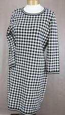 Lauren Ralph Lauren Women's Black & White Plaid Knit Dress Ret $149 New