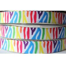 "5/10/50Y 7/8""22mm Colorful Zebra Grosgrain Cartoon Printed Pattern Ribbon Craft"