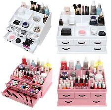Wooden 4 Drawer Jewellery Cosmetic Makeup Storage Display Table Organiser Box