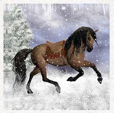 Caballo, caballo-Tela Cojín de invierno de fantasía Tapicería Artesanía Panel de acolchar