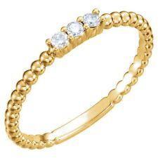 Genuine 1/10 ctw Diamond Stackable Beaded Design Ring 14K Yellow White Rose Gold