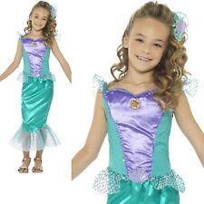 Green Mermaid Costume Deluxe Girls Fairytale Fancy Dress Outfit