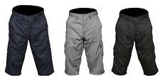 Men's Shorts 3/4 Casual Cotton Cargo Work Outdoor Beach Wear Black Navy Grey New