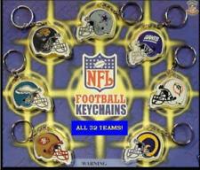 2 NEW NFL LICENSED TWO SIDED RETIRED FOOTBALL DIE CUT HELMET KEYCHAIN PULLS
