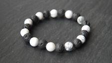 Premium Quality Lava Rock & Howlite Bead Gemstone Stretch Diffuser Bracelet New