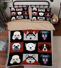 3D Cartoon Dog Kid 68 Bed Pillowcases Quilt Duvet Cover Set Single Queen King CA