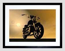 Pintura Ilustración Moto Motocicleta Sun Haze impresión arte enmarcado B12X12940