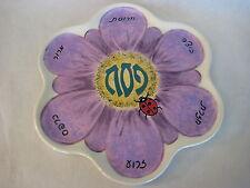 "Hand Painted Pottery Passover Sedar Seder Plate By Debbie Bernstein '98 , 14"" D"