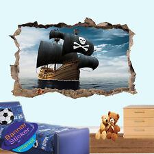 PIRATE SHIP CAPTAIN BLACKBEARD WALL STICKER 3D ART POSTER  MURAL DECAL DECOR VJ3