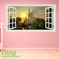 Adesivo parete Castello delle Favole a colori-ragazze incantata Finestra Camera da Letto w78