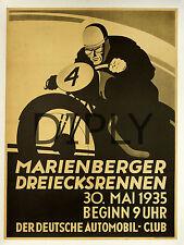 REPRO DECO AFFICHE MARIENBERGER MOTO 1935 DEUTSCHE SUR PANNEAU MURAL BOIS HDF