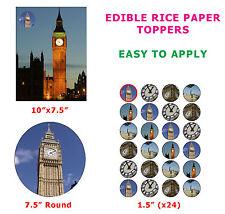 Big Ben Clock Tower London Landmark Novelty Cake/Cupcake Topper On Rice Paper