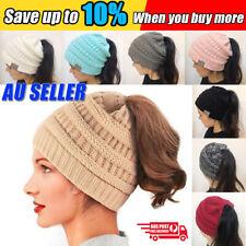 Women Girls Ponytail Beanie Winter Soft Stretch Cable Knit Crochet High Bun Hat