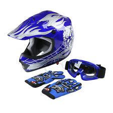 Youth Kids Blue Skull Dirt Bike ATV Motocross ATV Helmet Goggles+Gloves S M L