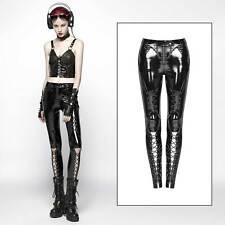 PUNK RAVE Lack Hose Damen Schwarz Auffällige Schnürungen PVCVinyl Leggings Black