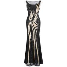 Angel-fashions Damen Schier Gold Pailletten Schwarz Spleißen Abendkleid 403