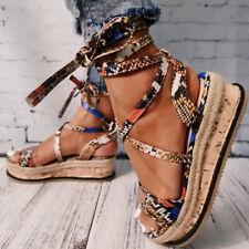 Sommer Damen Riemchen Gladiator Sandaletten Sandalen Plateau Espadrilles Schuhe