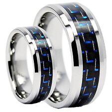 Tungsten Carbide Men's Wedding Band Blue Carbon Fiber Inlaid Size 7-13