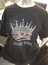 NEW Rhinestone Studded BINGO KING Bling T-Shirt  Sizes L, XL, 2XL