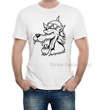 Wolf Kopf Head T-Shirt Druck Unisex Baumwolle Fruit of The Loom Neu